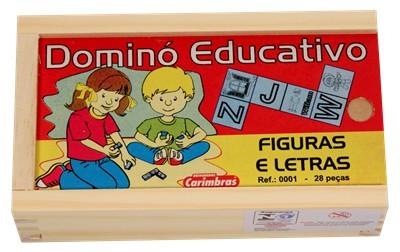 Jogo Educativo de madeira Dominó Figuras e Letras