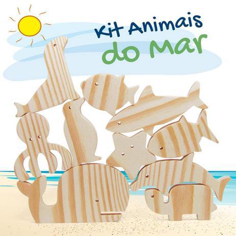 Kit Animais do Mar Brinquedo Educativo de Madeira Para Pintar