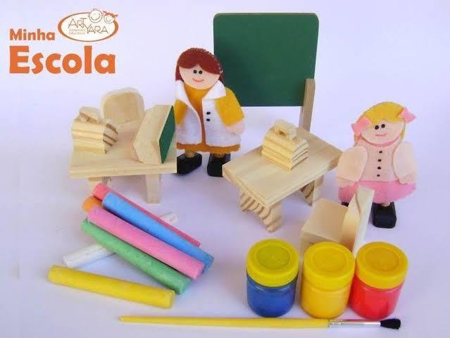 Kit Arte Brinquedo de Madeira Coleção Tudo Meu Cenários Temas  Sortidos