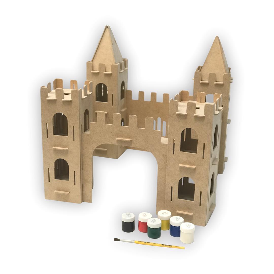 Kit Arte Castelo Medieval de Madeira para Pintar e Montar