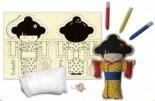 Kit Artesanato de Pano Kokeshi para pintar montar e brincar