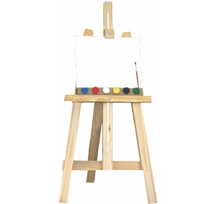 Kit Cavalete de Pintura com Tinta e Tela
