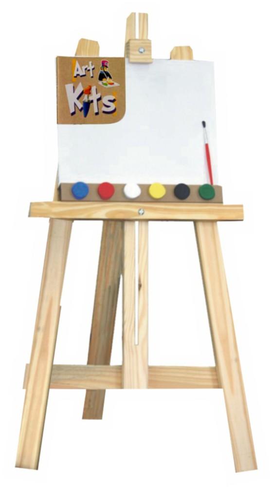 Kit Cavalete de Pintura com Tinta e Tela Brinquedo Educativo