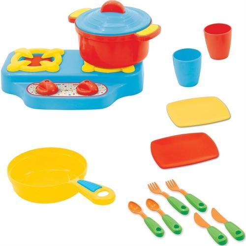 Kit Cozinha Colorido Mini Fogão com panelas e utensílios