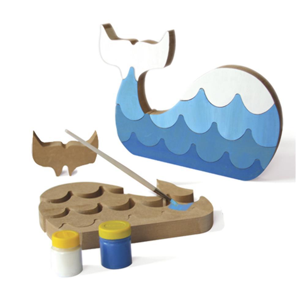 Kit de Artesanado de Madeira para Pintar e Montar Baleia Colorê