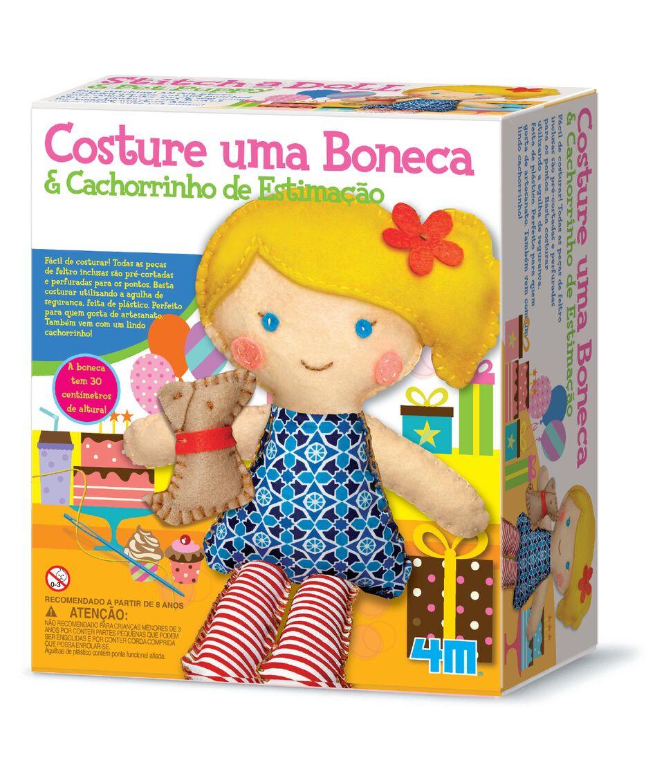 Kit de Artesanato Costure uma Boneca e Um Cachorrinho Estimação