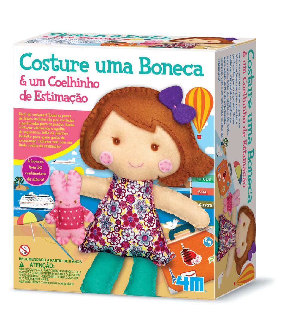 Kit de Artesanato Costure Uma Boneca e Um Coelhinho de Estimação