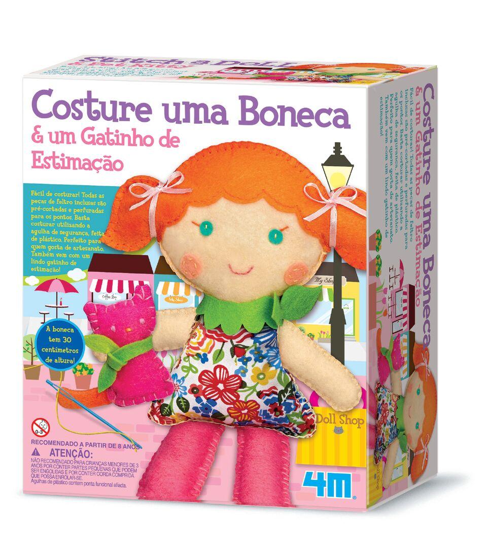 Kit de Artesanato Costure Uma Boneca e Um Gatinho de Estimação