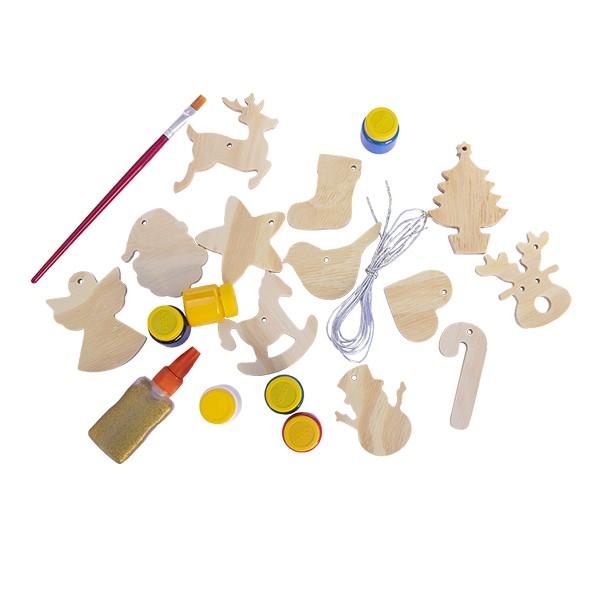 Kit de Enfeites de Natal em Madeira para colorir