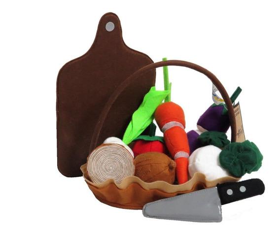 Kit de Legumes de Tecido na Cesta Brinquedo de Pano
