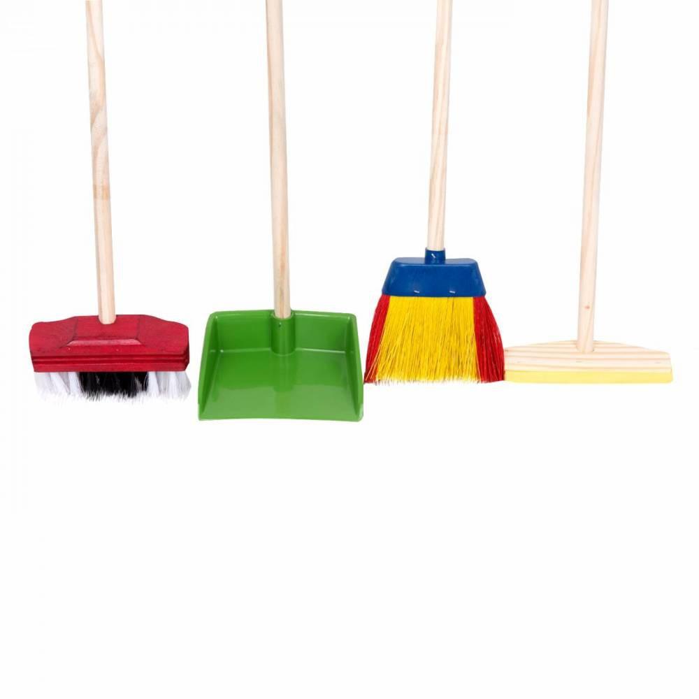 Kit de limpeza Infantil de Madeira peças vassouras, rodo e pá