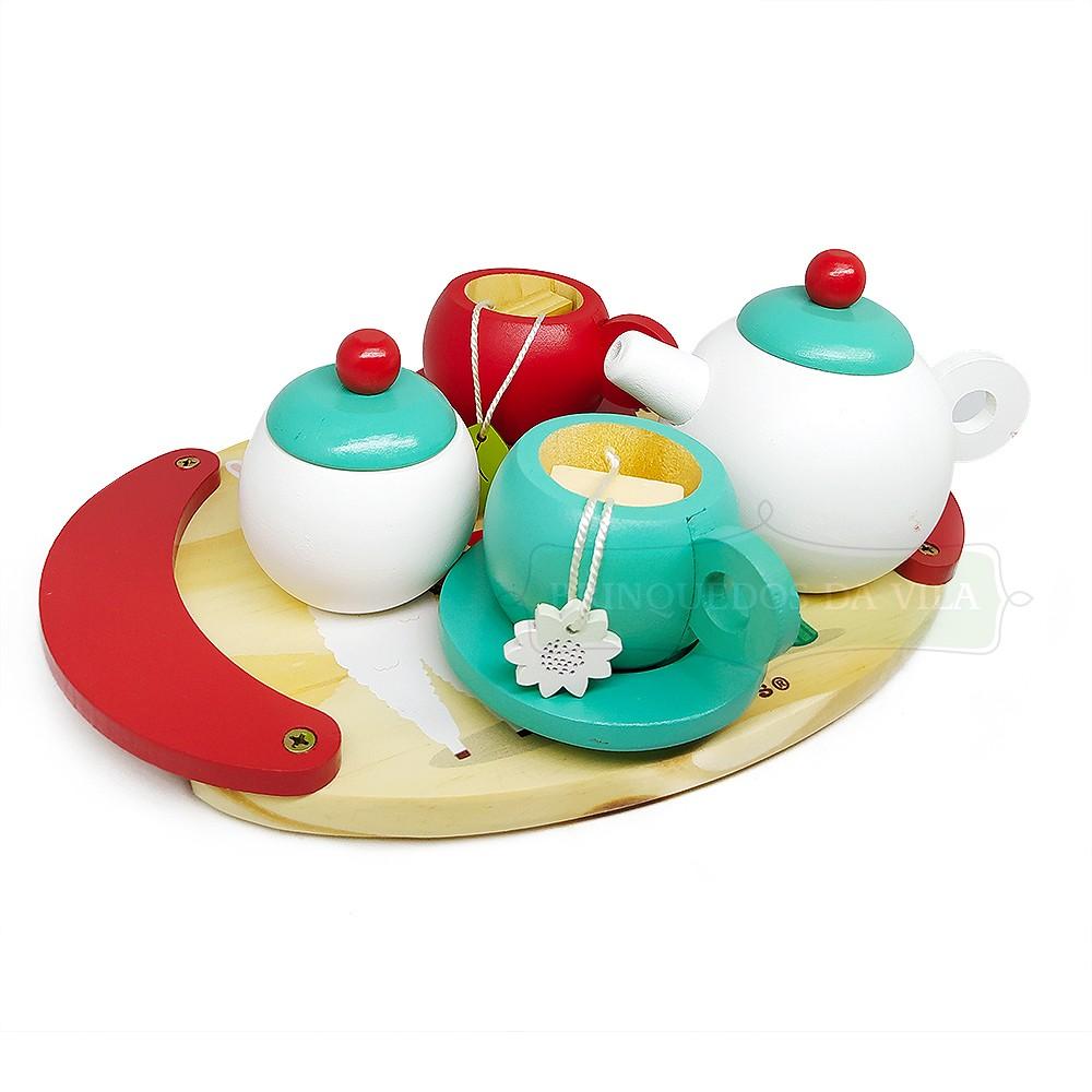 Kit de Chá Brinquedo de Madeira