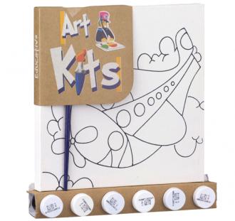 Kit para Pintura Tela Desenhada Pequena Avião Brinquedo de Madeira
