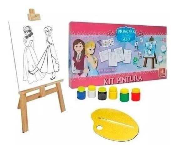 Kit Pintura Princesa do Gelo Brinquedo Educativo de Madeira