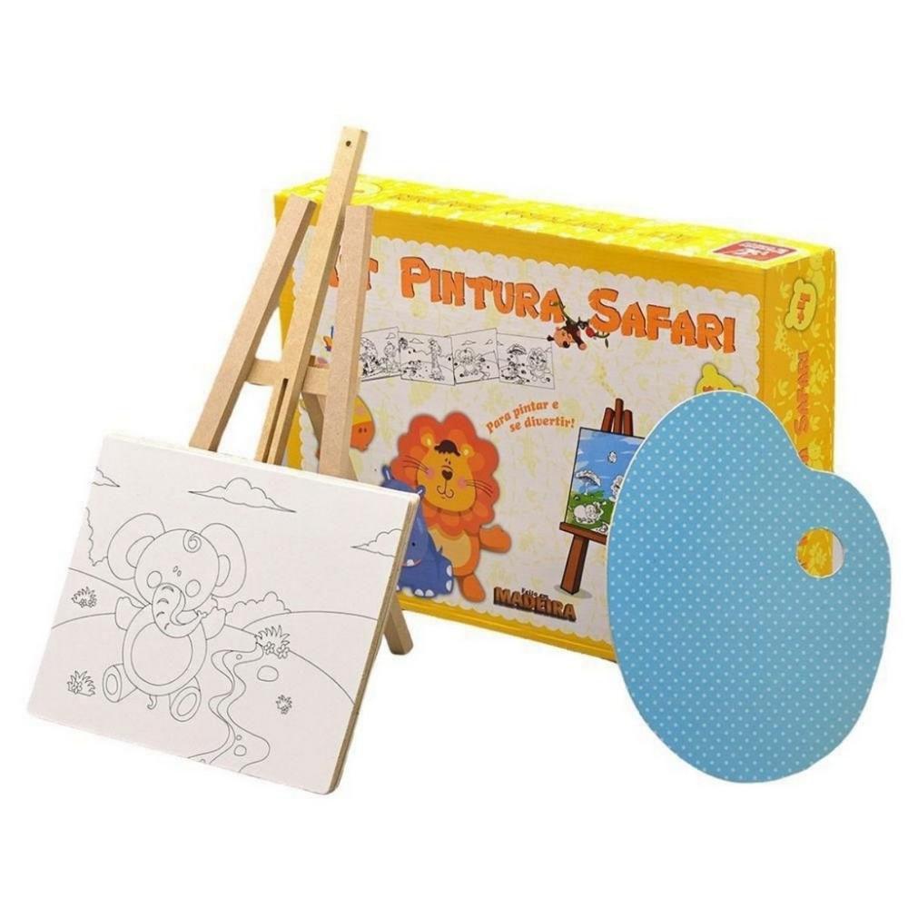Kit Pintura Safari Brinquedo Educativo de Madeira