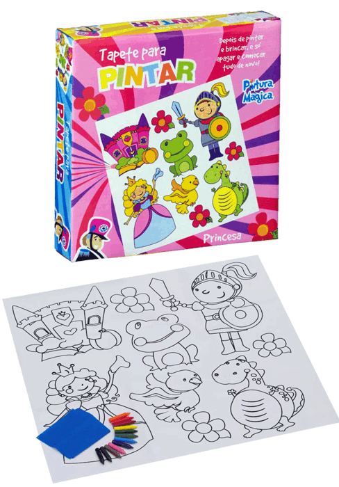 Kit Pintura Tapete Pinta e Apaga Princesa