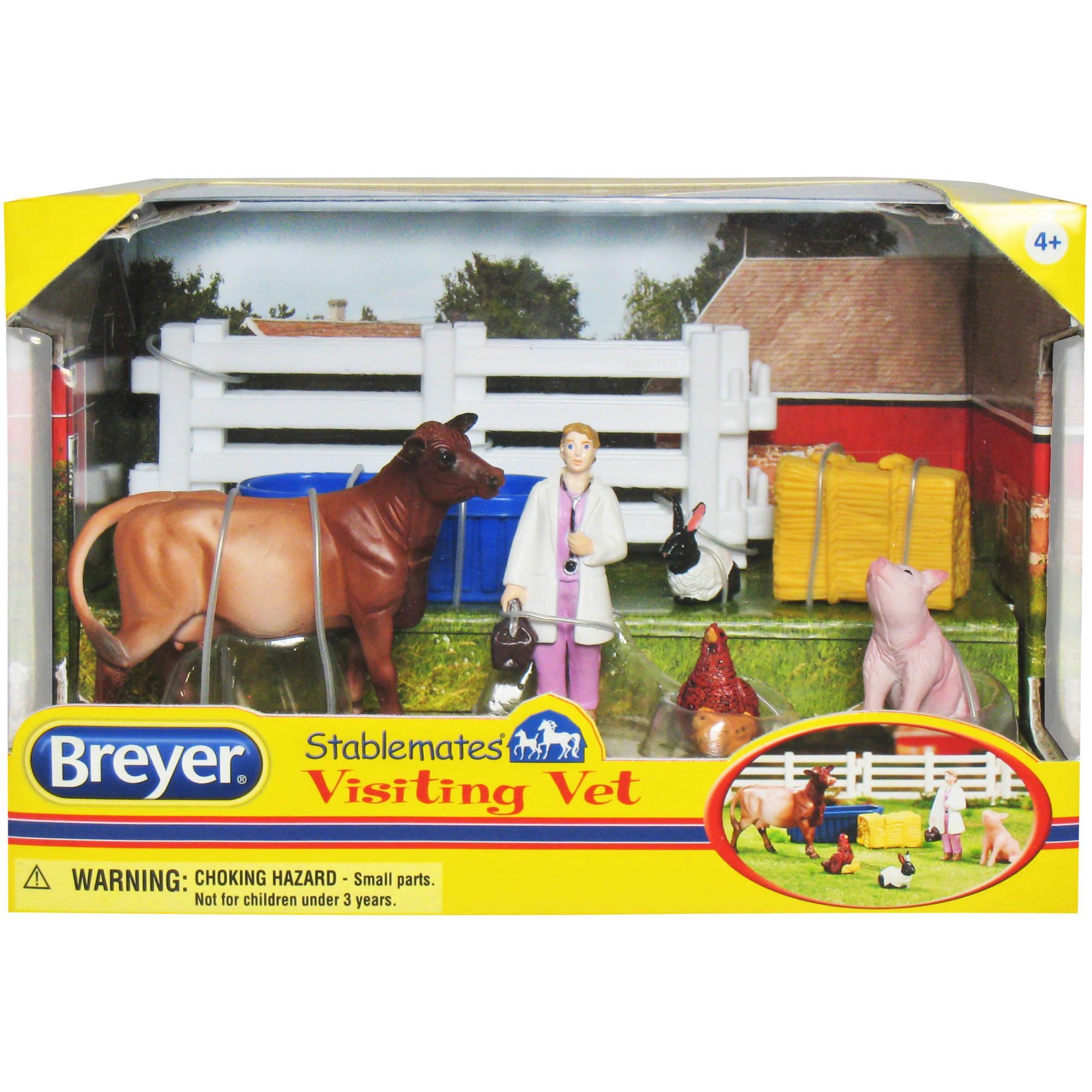 Kit Stablemates Veterinária com Animais da Fazenda Breyer
