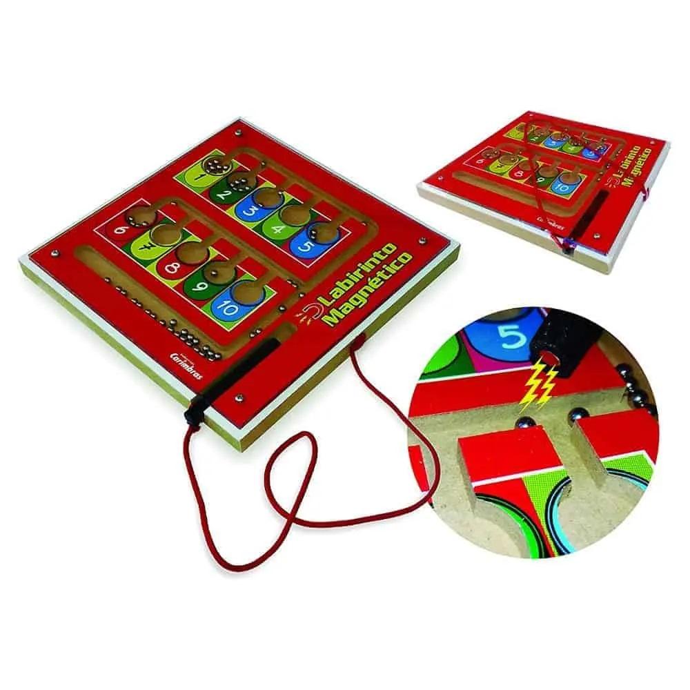 Labirinto Magnético Brinquedo Educativo de Madeira