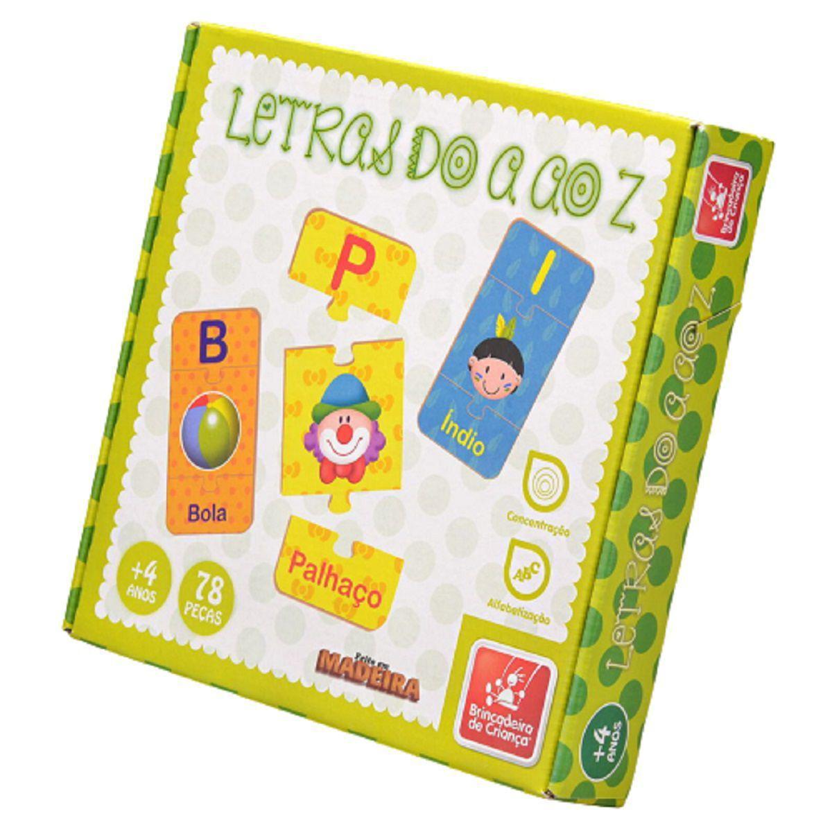 Letras do A ao Z Brinquedo Educativo de Madeira