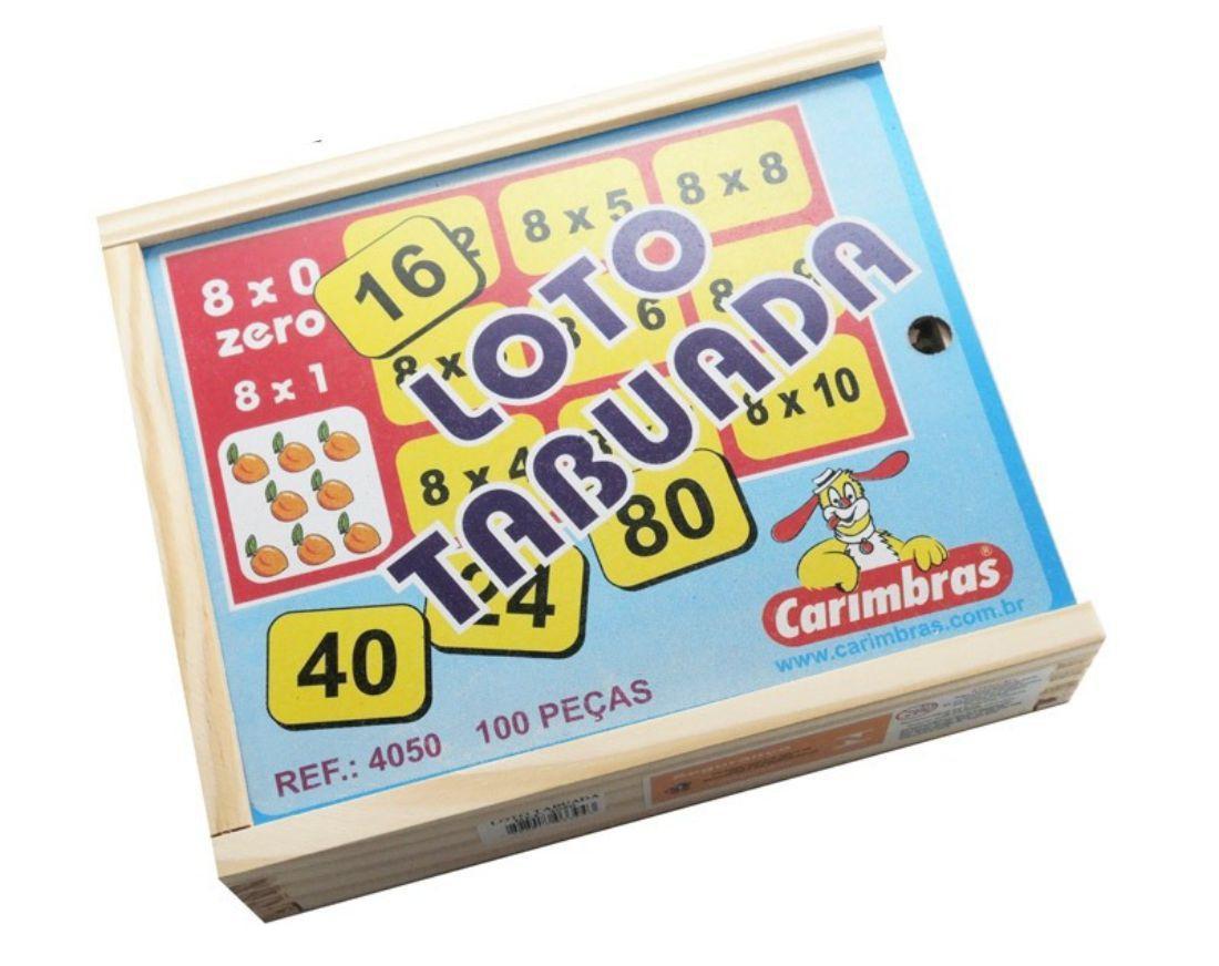 Loto Tabuada Brinquedo Educativo de Madeira