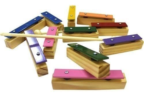 Metalofone Colorido 11 Teclas Individuais Instrumento Musical Infantil