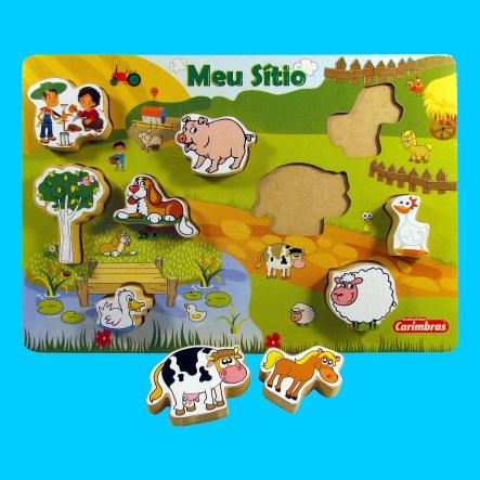 Meu Sítio Quebra Cabeça Brinquedo Educativo de Madeira