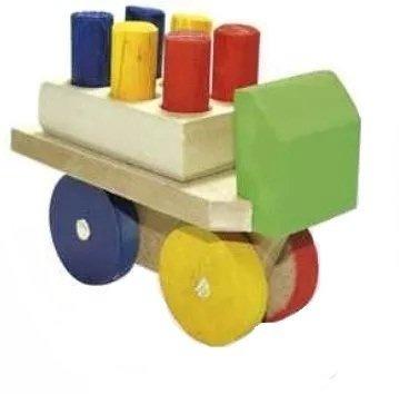 Mini Caminhão de Madeira Carrinho Pedagógico com Pinos de Madeira