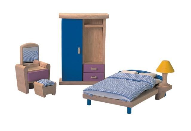 Mini Móveis de Madeira para casinha de boneca Bedroom Neo Quarto Plan Toys