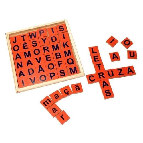 Palavras Cruzadas Brinquedo Educativo de Madeira