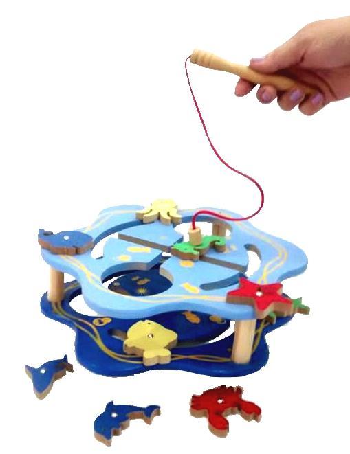 Pescaria com Labirinto Magnética Brinquedo Educativo de Madeira