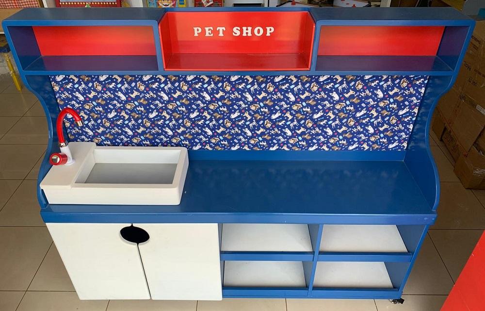 Pet Shop Pequeno para Casinha infantil Brinquedo Educativo de Madeira