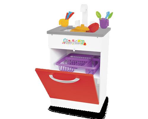Pia de Madeira Super Clean Vermelha para Casinha Infantil
