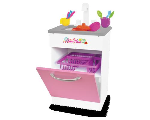 Pia Super Clean Rosa de madeira  para Casinha Infantil