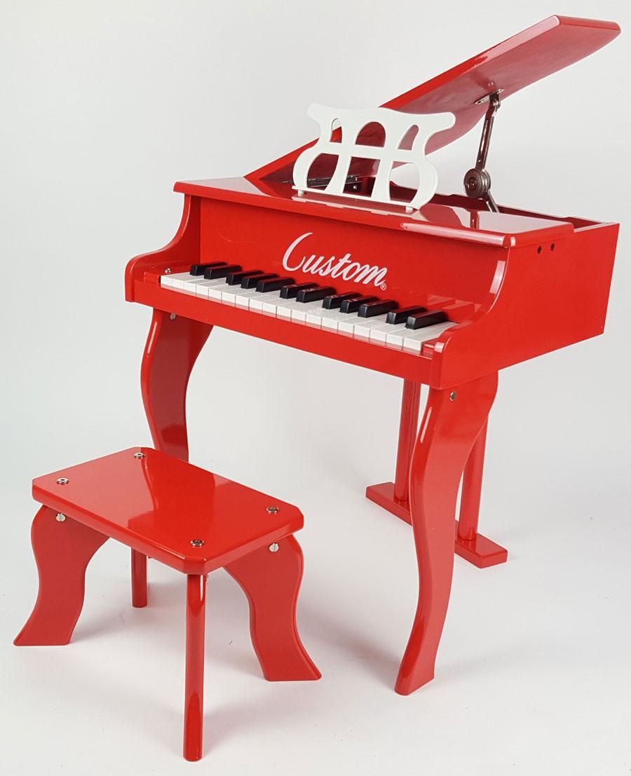 Piano de Madeira Acústico Infantil com 30 Teclas Custom Vermelho