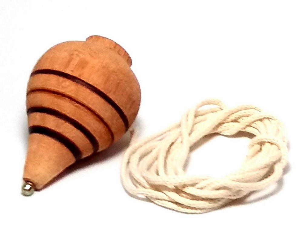 Pião de Fieira Brinquedo Educativo de Madeira