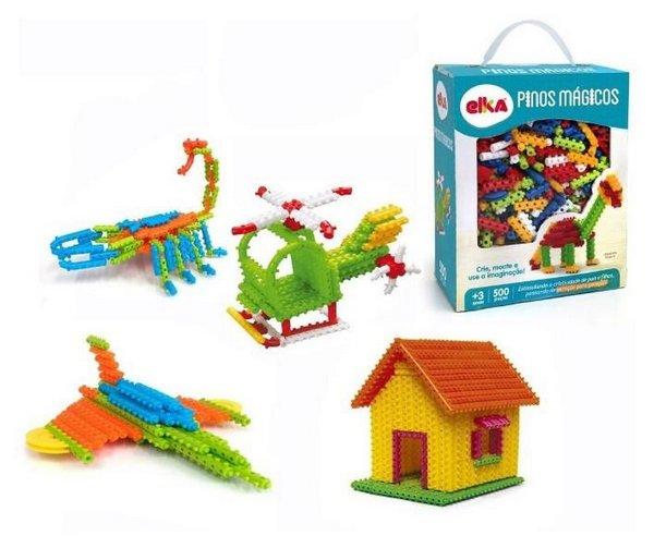Pinos Mágicos com 500 peças Brinquedo de Montar