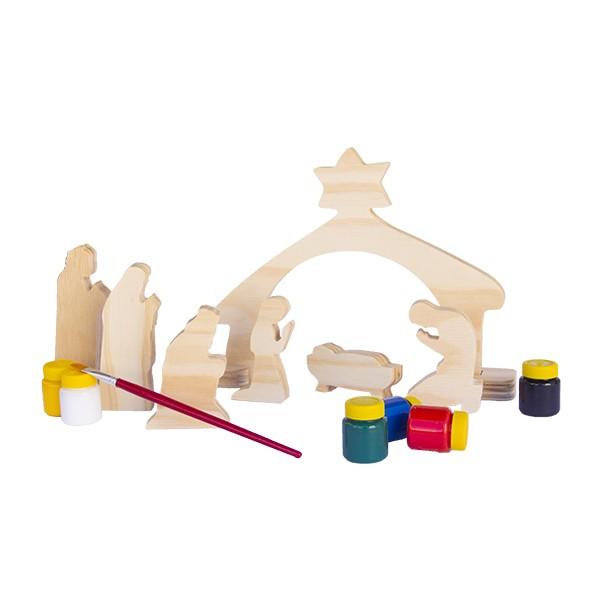 Presépio de Natal em Madeira para Colorir Brinquedo Educativo