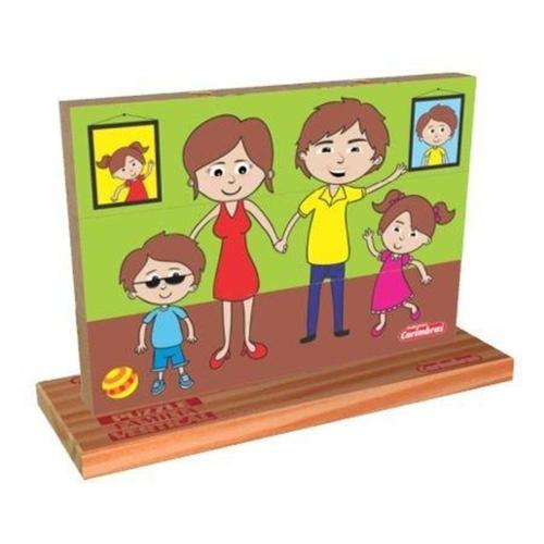 Puzzle Vertical Família Quebra Cabeça de Madeira em Blocos