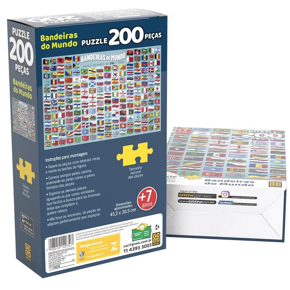 Quebra Cabeça Bandeiras do Mundo 200 Peças Brinquedo Educativo