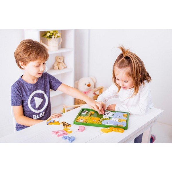Quebra Cabeça Bicharada Brinquedo Educativo de Madeira