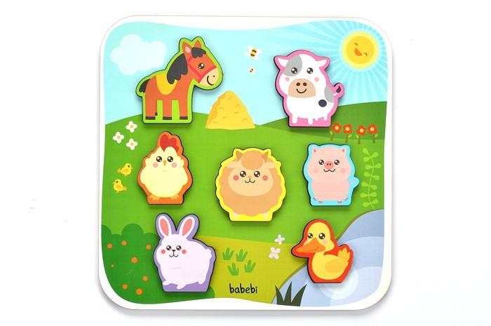 Encaixe Animais da Fazenda Brinquedo Educativo de Encaixar de Madeira