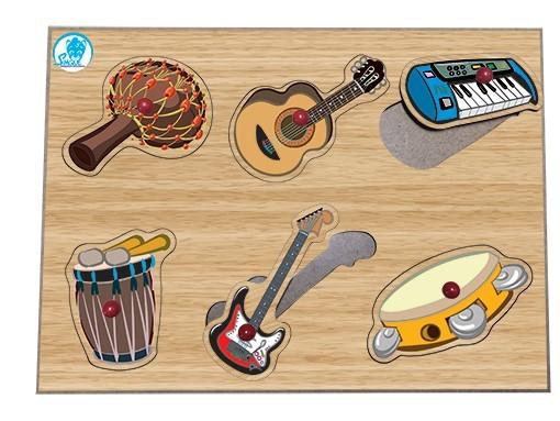 Quebra Cabeça de Madeira com Pinos Instrumentos Musicais