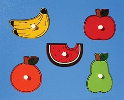 Quebra Cabeça de Madeira com Pinos Pequeno Frutas