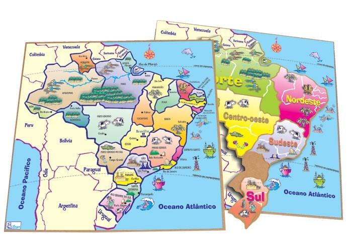 Quebra Cabeça de Madeira Mapas, 2 jogos