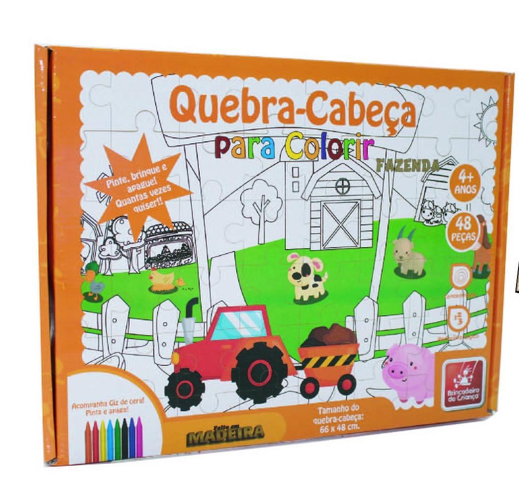 Quebra Cabeça de Madeira para Colorir Fazenda