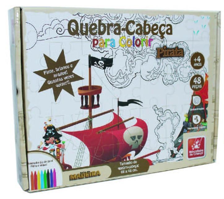 Quebra Cabeça de Madeira para Colorir Pirata