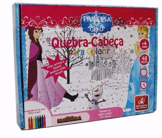 Quebra Cabeça de Madeira para Colorir Princesa do Gelo