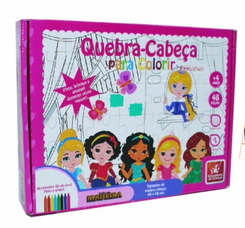 Quebra Cabeça de Madeira para Colorir Princesas Baby