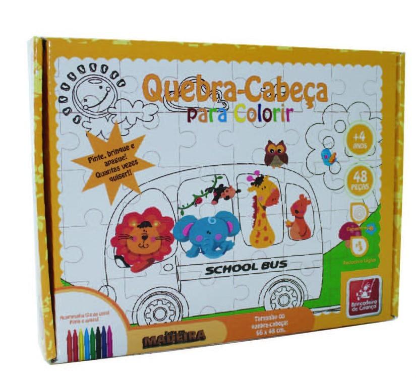Quebra Cabeça de Madeira para Colorir Safári