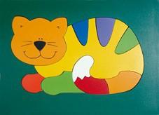 Quebra Cabeça de Madeira Placa Grande Gato